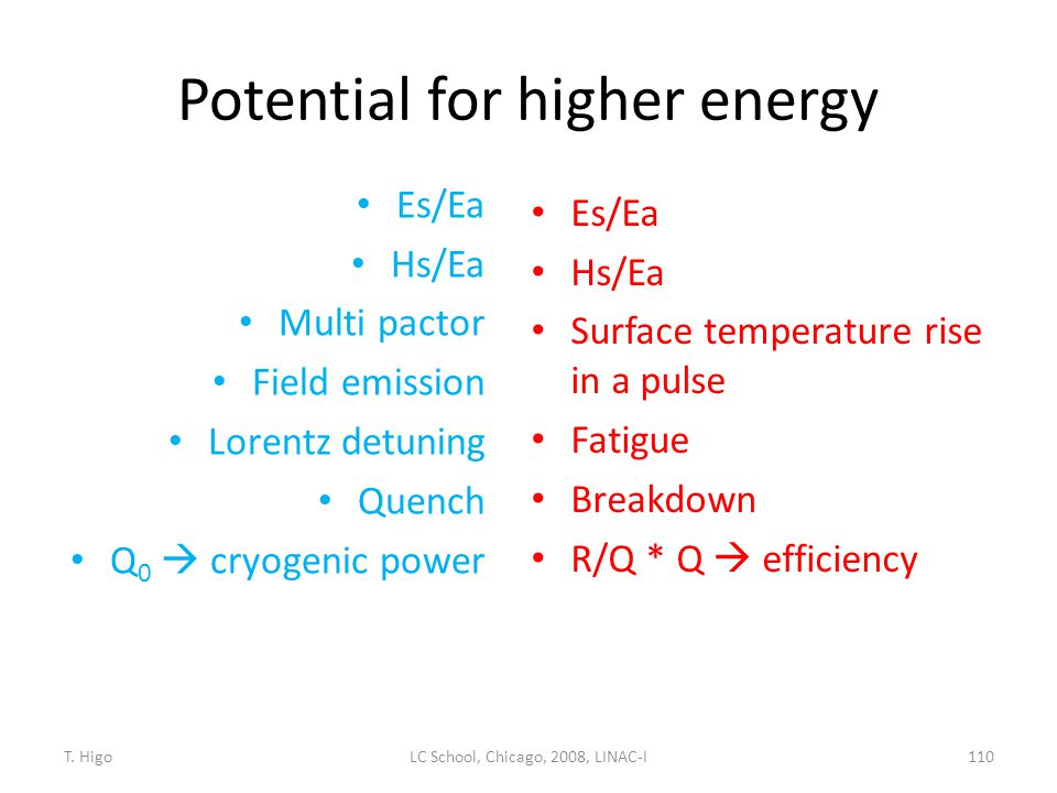 Potential for higher energy Es/Ea Hs/Ea Multi pactor Field emission Lorentz detuning Quench Q 0  cryogenic power Es/Ea Hs/Ea Surface temperature rise