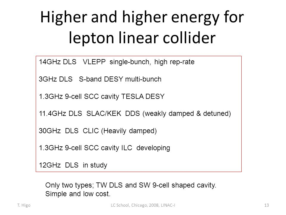 Higher and higher energy for lepton linear collider 13 14GHz DLS VLEPP single-bunch, high rep-rate 3GHz DLS S-band DESY multi-bunch 1.3GHz 9-cell SCC