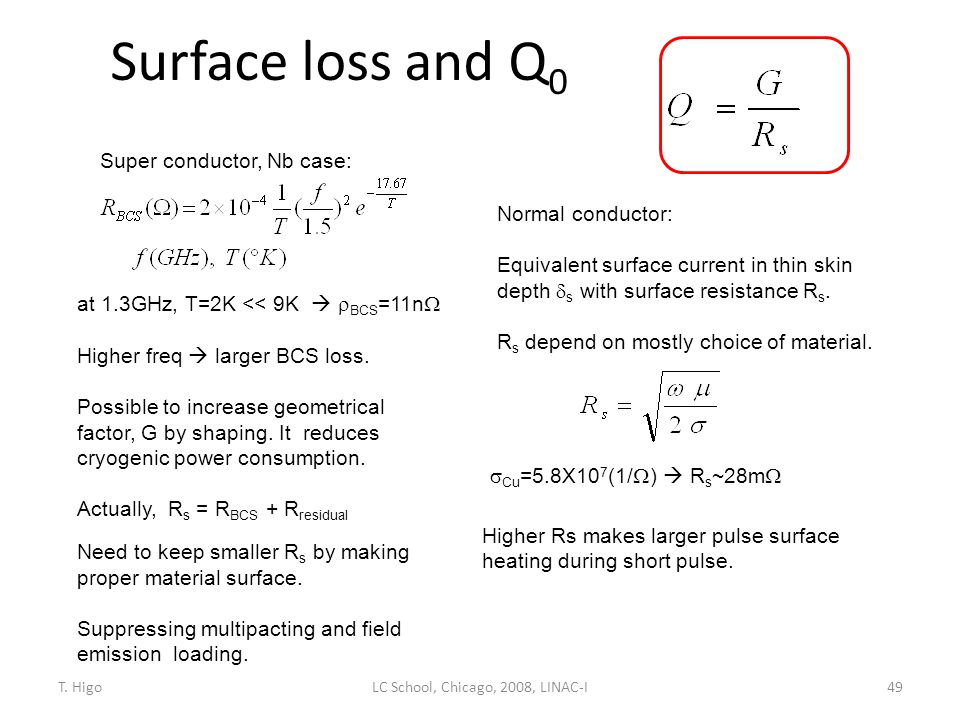 Surface loss and Q 0 49 Normal conductor: Equivalent surface current in thin skin depth  s with surface resistance R s. R s depend on mostly choice o