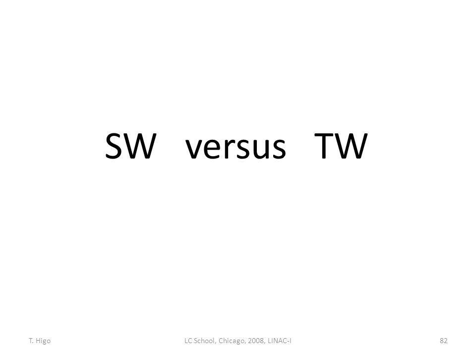 SW versus TW 82LC School, Chicago, 2008, LINAC-IT. Higo