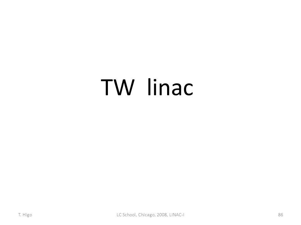 TW linac 86LC School, Chicago, 2008, LINAC-IT. Higo