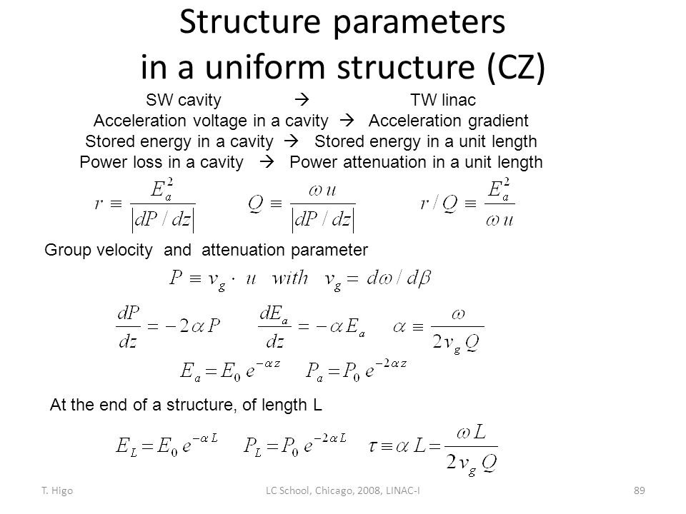 Structure parameters in a uniform structure (CZ) 89 SW cavity  TW linac Acceleration voltage in a cavity  Acceleration gradient Stored energy in a c