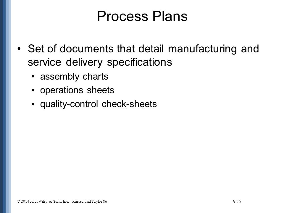 Process Plans Set of documents that detail manufacturing and service delivery specifications assembly charts operations sheets quality-control check-s