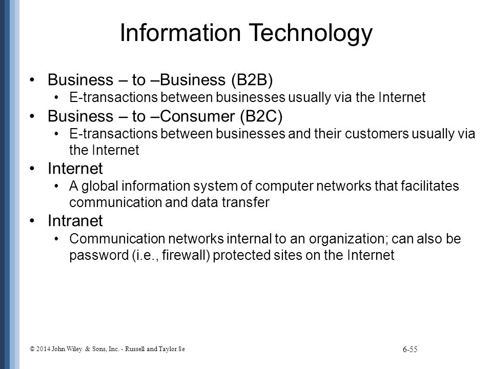 Information Technology Business – to –Business (B2B) E-transactions between businesses usually via the Internet Business – to –Consumer (B2C) E-transa