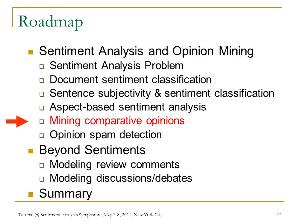 Roadmap Sentiment Analysis and Opinion Mining  Sentiment Analysis Problem  Document sentiment classification  Sentence subjectivity & sentiment classification  Aspect-based sentiment analysis  Mining comparative opinions  Opinion spam detection Beyond Sentiments  Modeling review comments  Modeling discussions/debates Summary Tutorial @ Sentiment Analysis Symposium, May 7-8, 2012, New York City 57