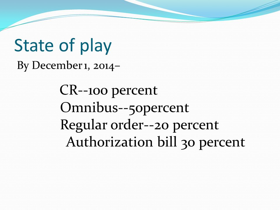 State of play By December 1, 2014– CR--100 percent Omnibus--50percent Regular order--20 percent Authorization bill 30 percent