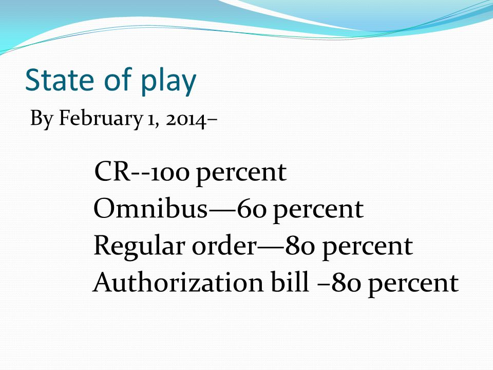 State of play By February 1, 2014– CR--100 percent Omnibus—60 percent Regular order—80 percent Authorization bill –80 percent