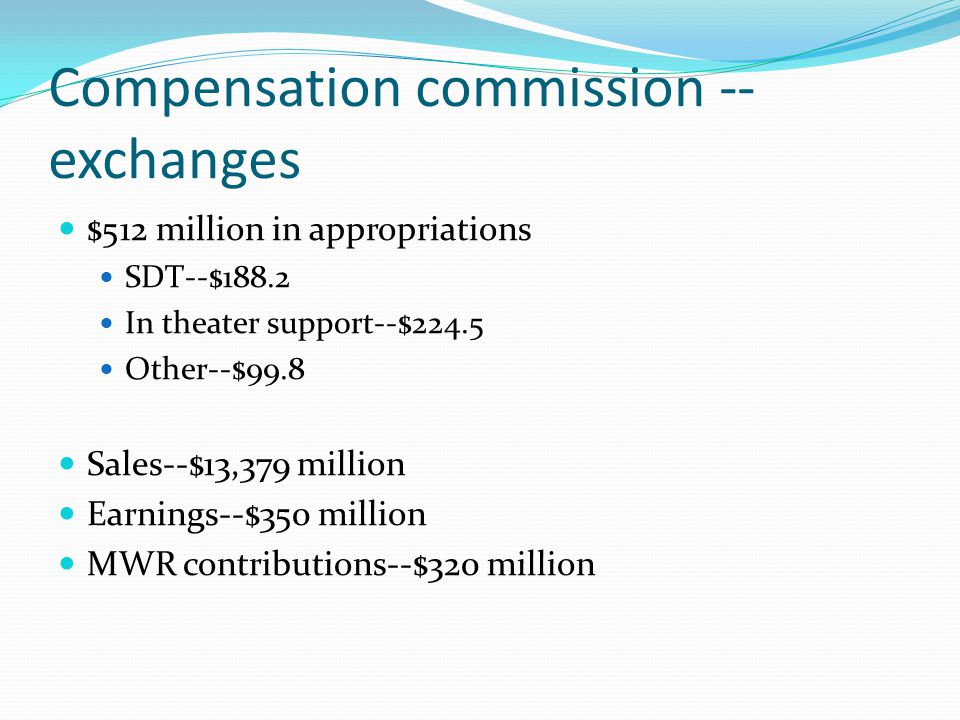 Compensation commission -- exchanges $512 million in appropriations SDT--$188.2 In theater support--$224.5 Other--$99.8 Sales--$13,379 million Earning