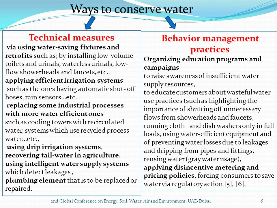 2nd Global Conference on Energy, Soil, Water, Air and Environment, UAE-Dubai6 Ways to conserve water Technical measures via using water-saving fixture