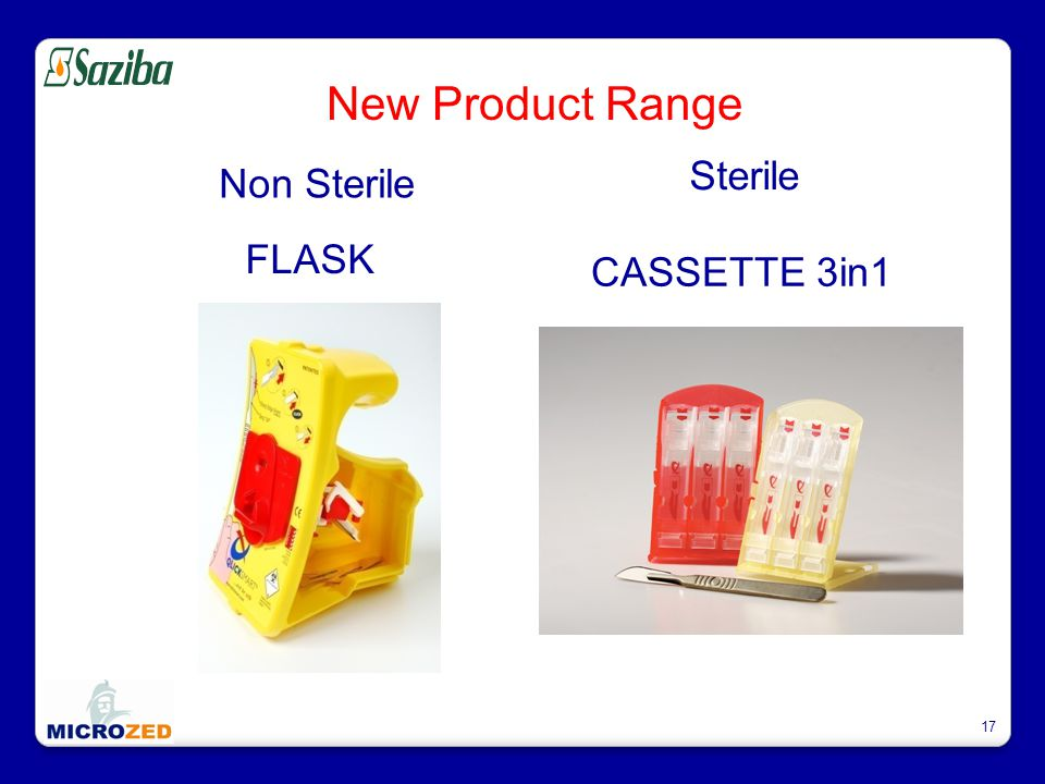 17 New Product Range FLASK CASSETTE 3in1 Non Sterile Sterile