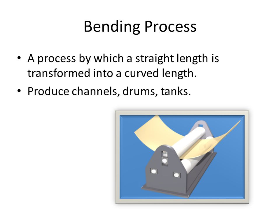 A process by which a straight length is transformed into a curved length. Produce channels, drums, tanks.