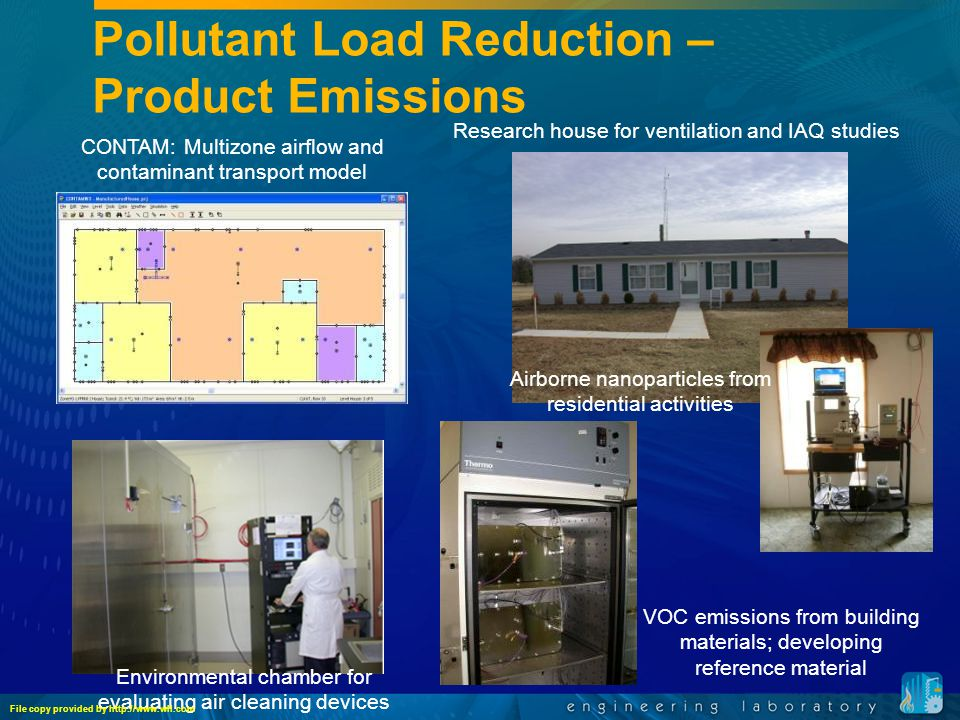 Pollutant Load Reduction – Product Emissions CONTAM: Multizone airflow and contaminant transport model Airborne nanoparticles from residential activities Research house for ventilation and IAQ studies VOC emissions from building materials; developing reference material Environmental chamber for evaluating air cleaning devices File copy provided by http://www.wll.com