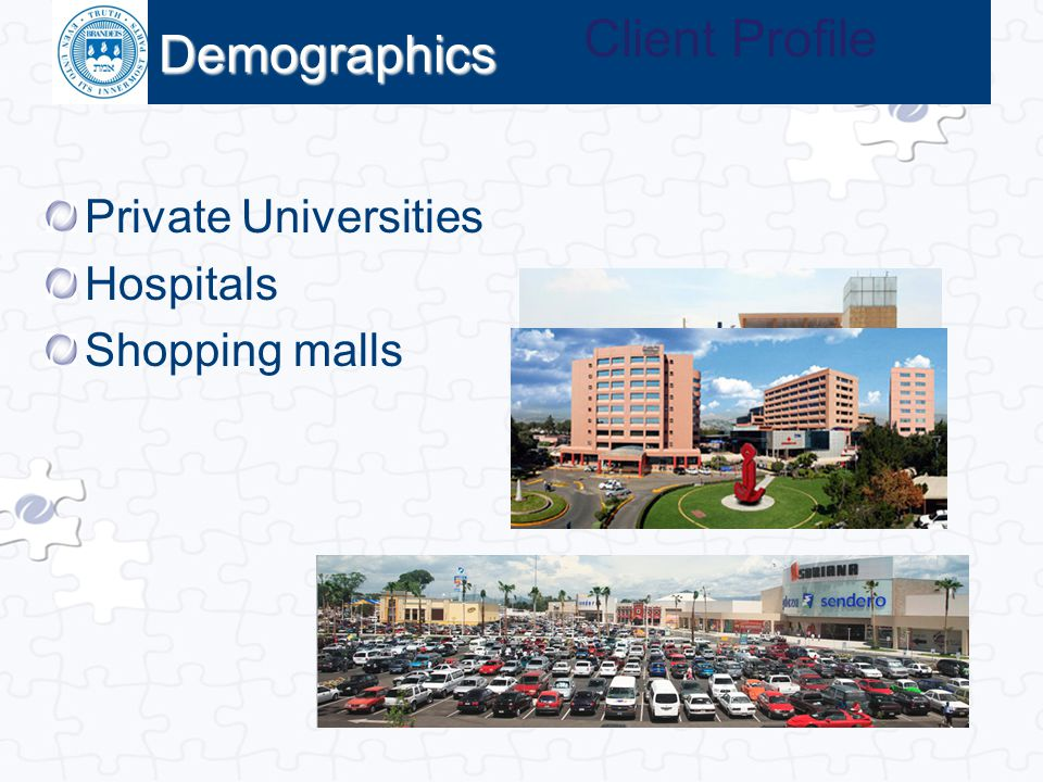 Click to edit Master title style Demographics Private Universities Hospitals Shopping malls Client Profile