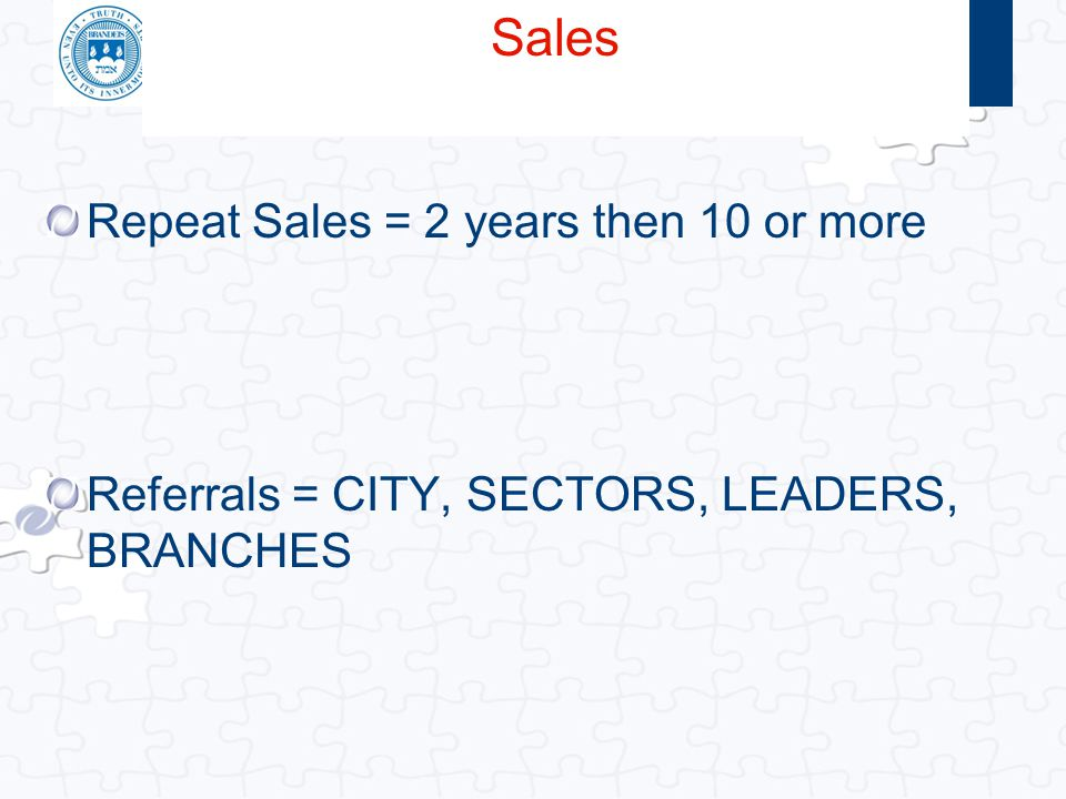 Click to edit Master title style Repeat Sales = 2 years then 10 or more Referrals = CITY, SECTORS, LEADERS, BRANCHES Sales