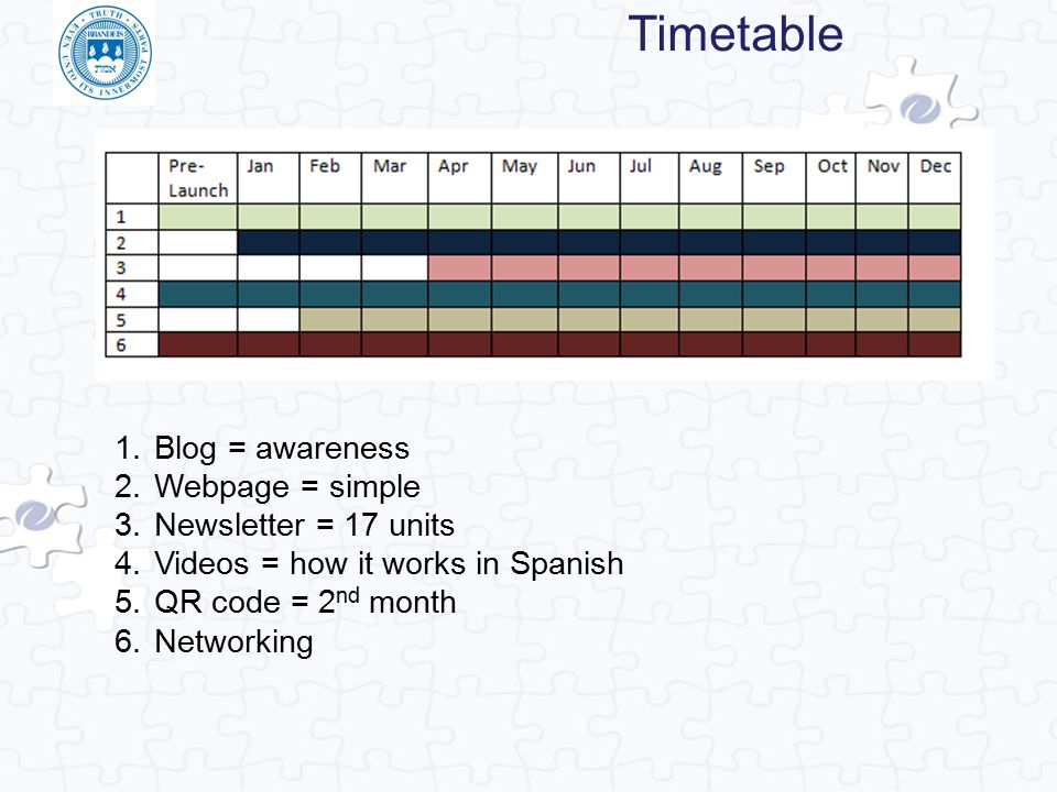 Timetable 1.Blog = awareness 2.Webpage = simple 3.Newsletter = 17 units 4.Videos = how it works in Spanish 5.QR code = 2 nd month 6.Networking