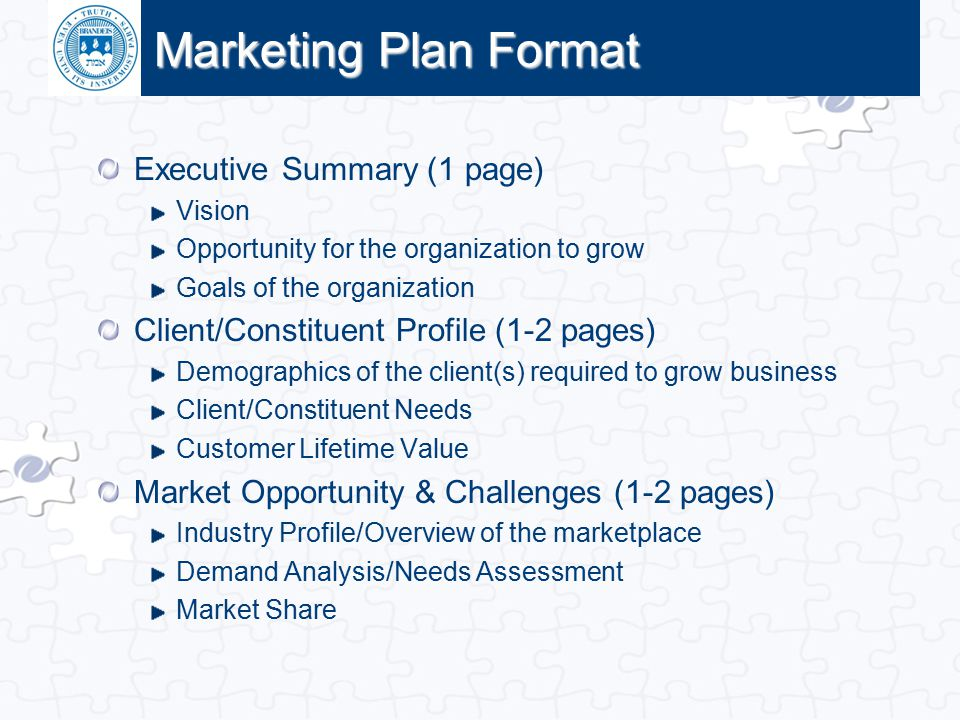 Click to edit Master title style Marketing Plan Format Executive Summary (1 page) Vision Opportunity for the organization to grow Goals of the organiz