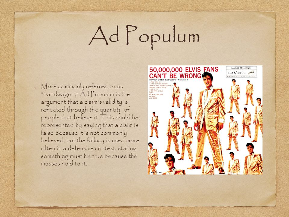 Ad Populum More commonly referred to as