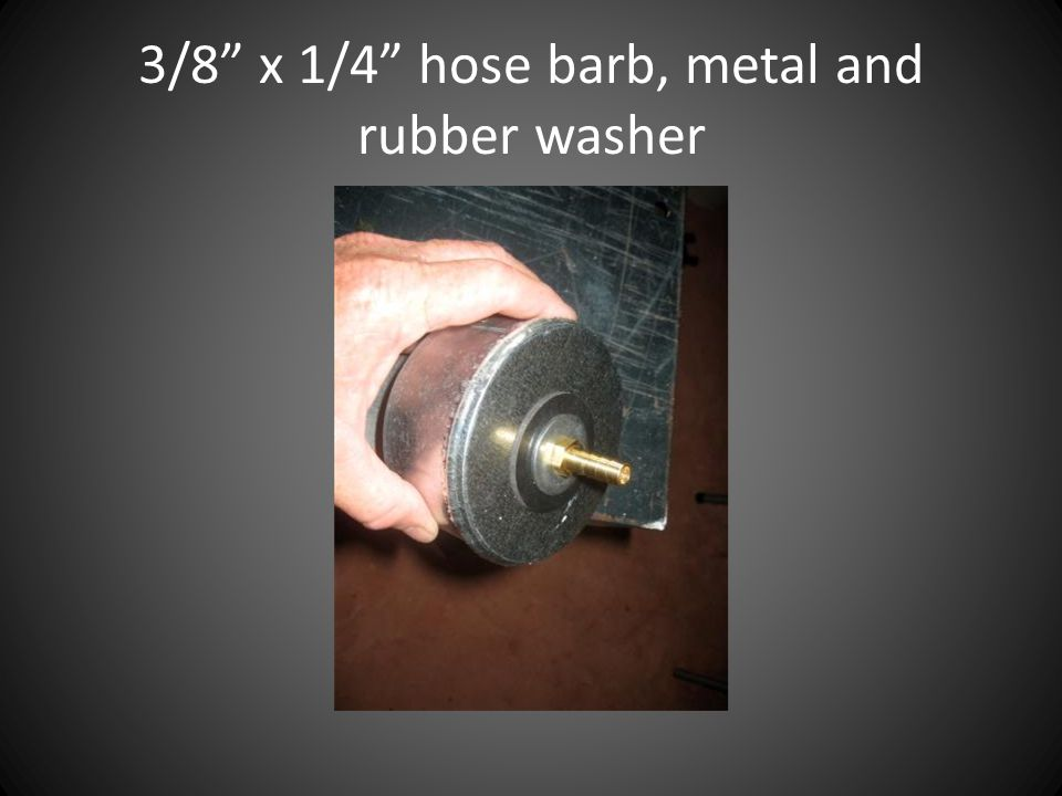 """3/8"""" x 1/4"""" hose barb, metal and rubber washer"""