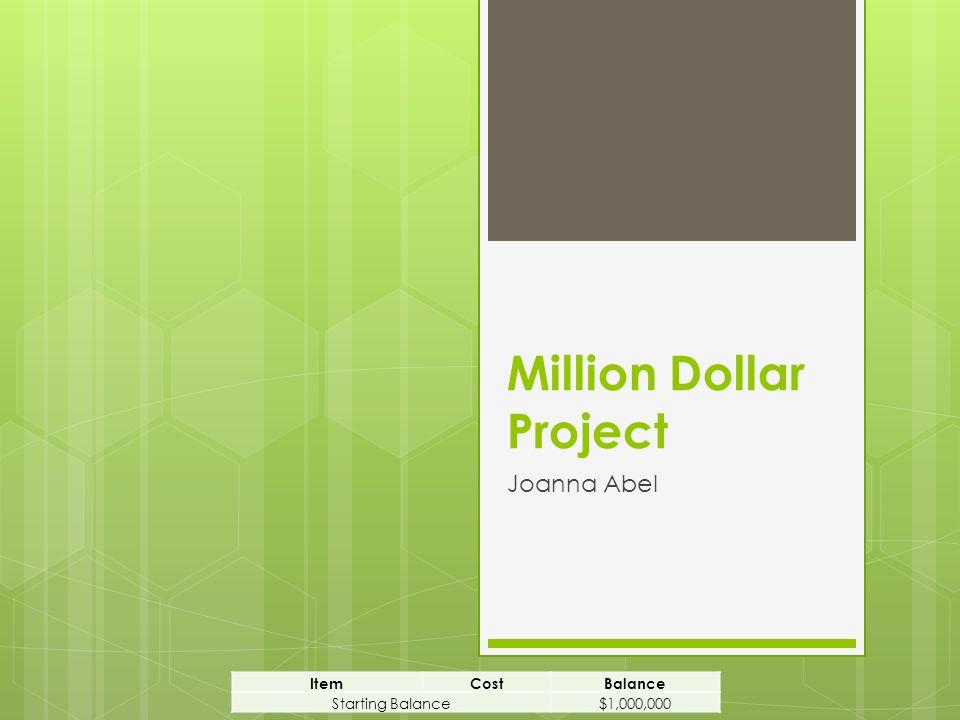 Million Dollar Project Joanna Abel ItemCostBalance Starting Balance$1,000,000