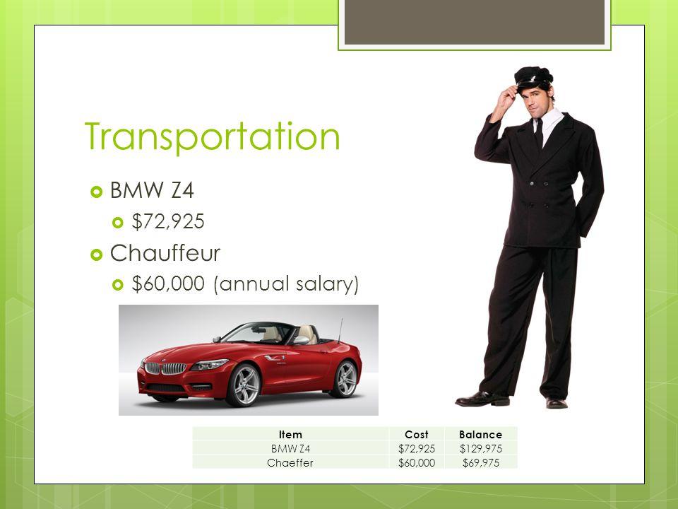 Transportation  BMW Z4  $72,925  Chauffeur  $60,000 (annual salary) ItemCostBalance BMW Z4$72,925$129,975 Chaeffer$60,000$69,975