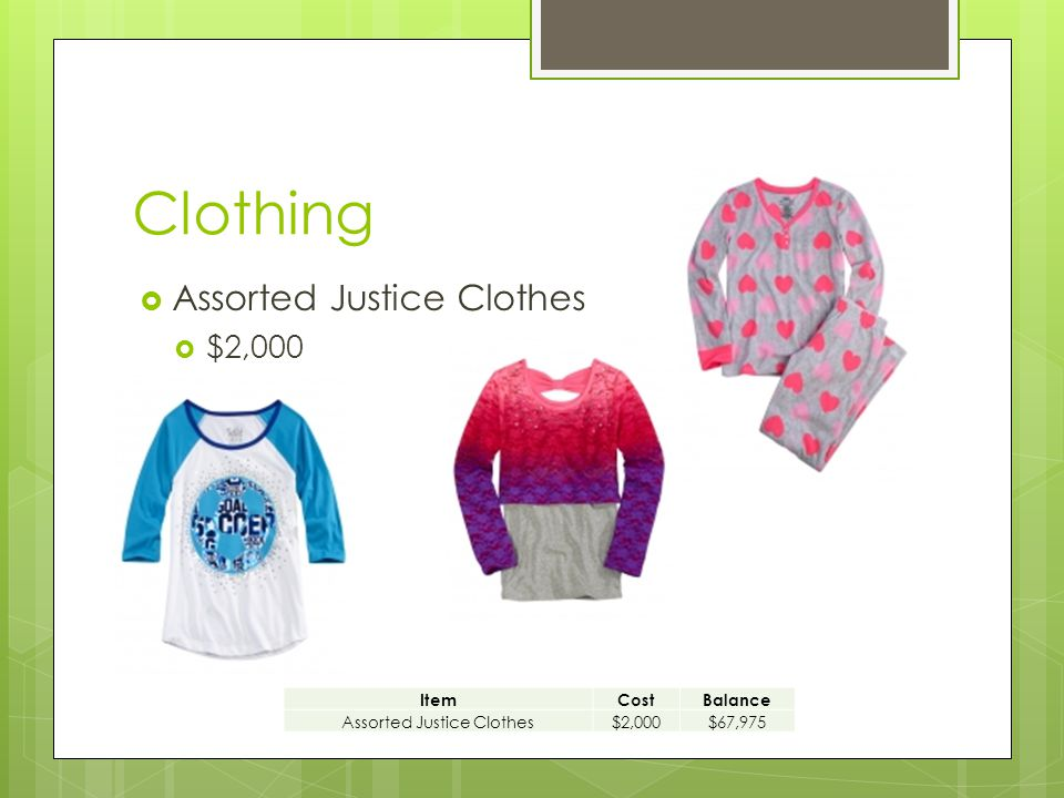 Clothing  Assorted Justice Clothes  $2,000 ItemCostBalance Assorted Justice Clothes$2,000$67,975