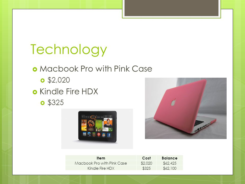 Technology  Macbook Pro with Pink Case  $2,020  Kindle Fire HDX  $325 ItemCostBalance Macbook Pro with Pink Case$2,020$62,425 Kindle Fire HDX$325$62,100