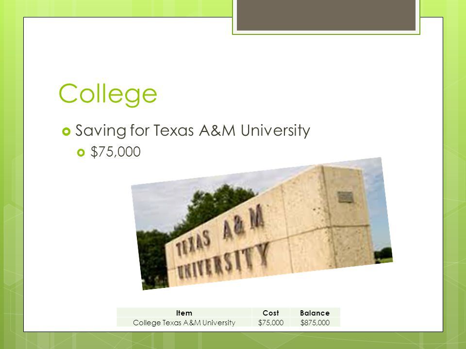 College  Saving for Texas A&M University  $75,000 ItemCostBalance College Texas A&M University$75,000$875,000