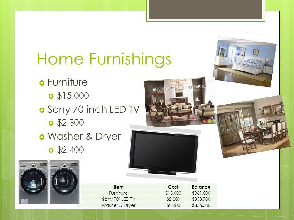 Home Furnishings  Furniture  $15,000  Sony 70 inch LED TV  $2,300  Washer & Dryer  $2,400 ItemCostBalance Furniture$15,000$361,000 Sony 70 LED TV$2,300$358,700 Washer & Dryer$2,400$356,300