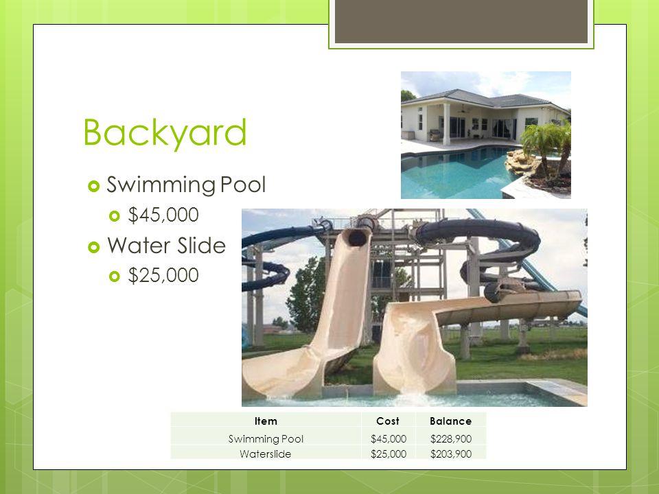 Backyard  Swimming Pool  $45,000  Water Slide  $25,000 ItemCostBalance Swimming Pool$45,000$228,900 Waterslide$25,000$203,900
