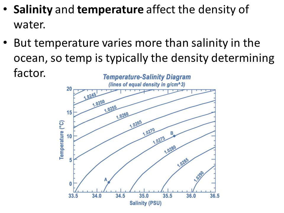 Salinity and temperature affect the density of water. But temperature varies more than salinity in the ocean, so temp is typically the density determi