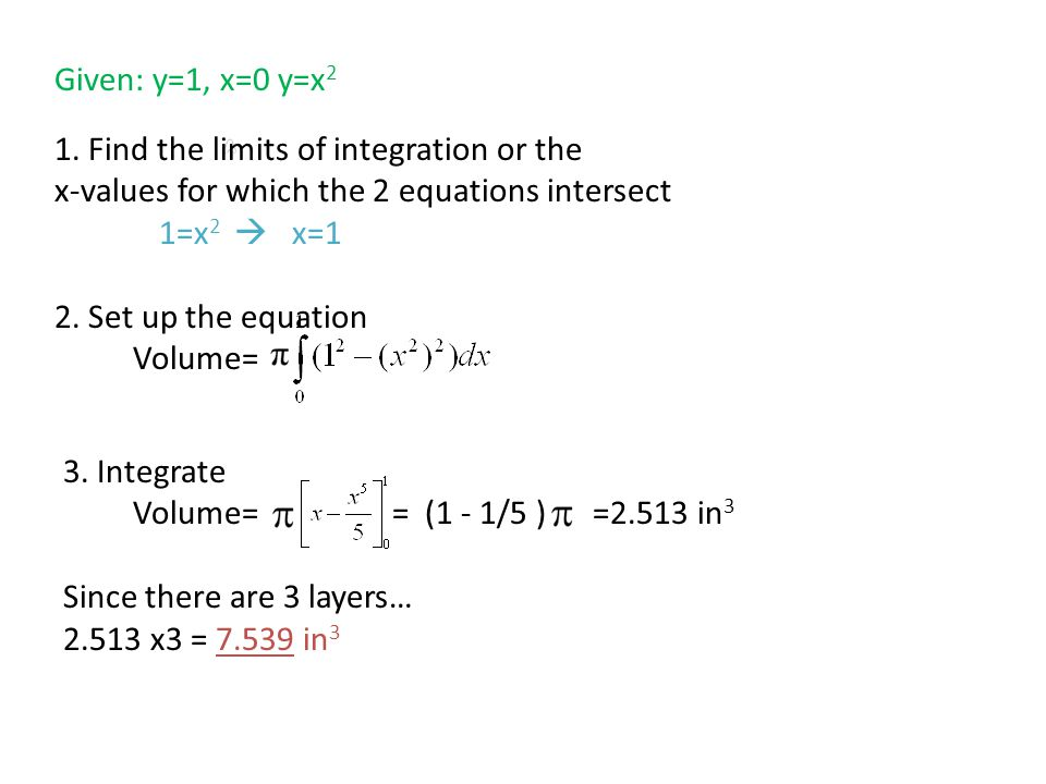 Note: Use this formula to find the volume of a solid when one equation is given