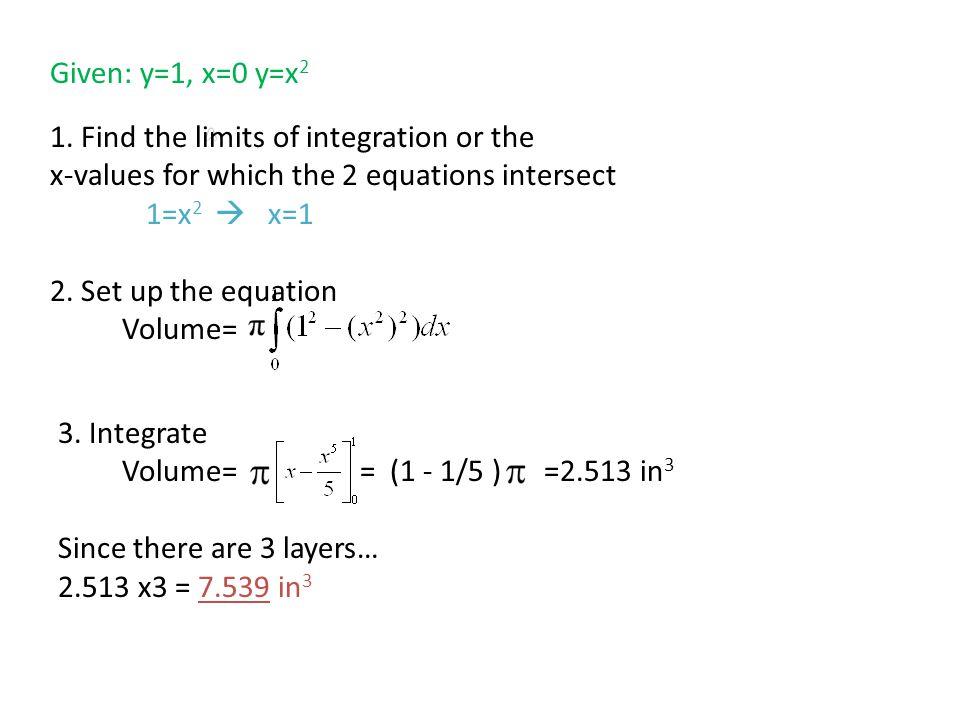Volume= Given: y=1, x=0 y=x 2 1.