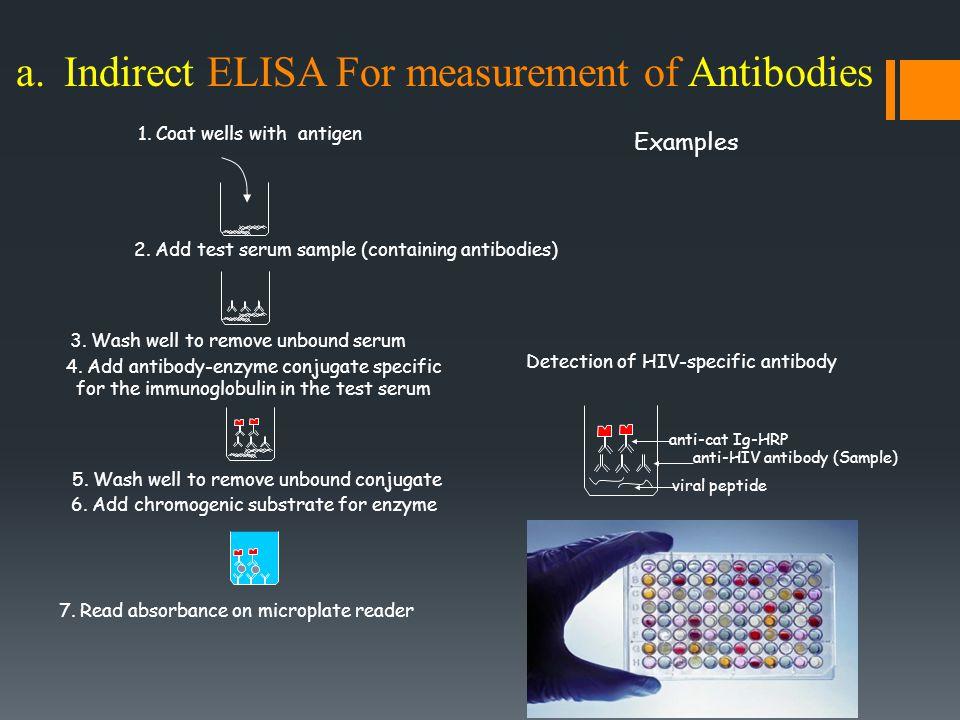 a.Indirect ELISA For measurement of Antibodies 1. Coat wells with antigen 2.