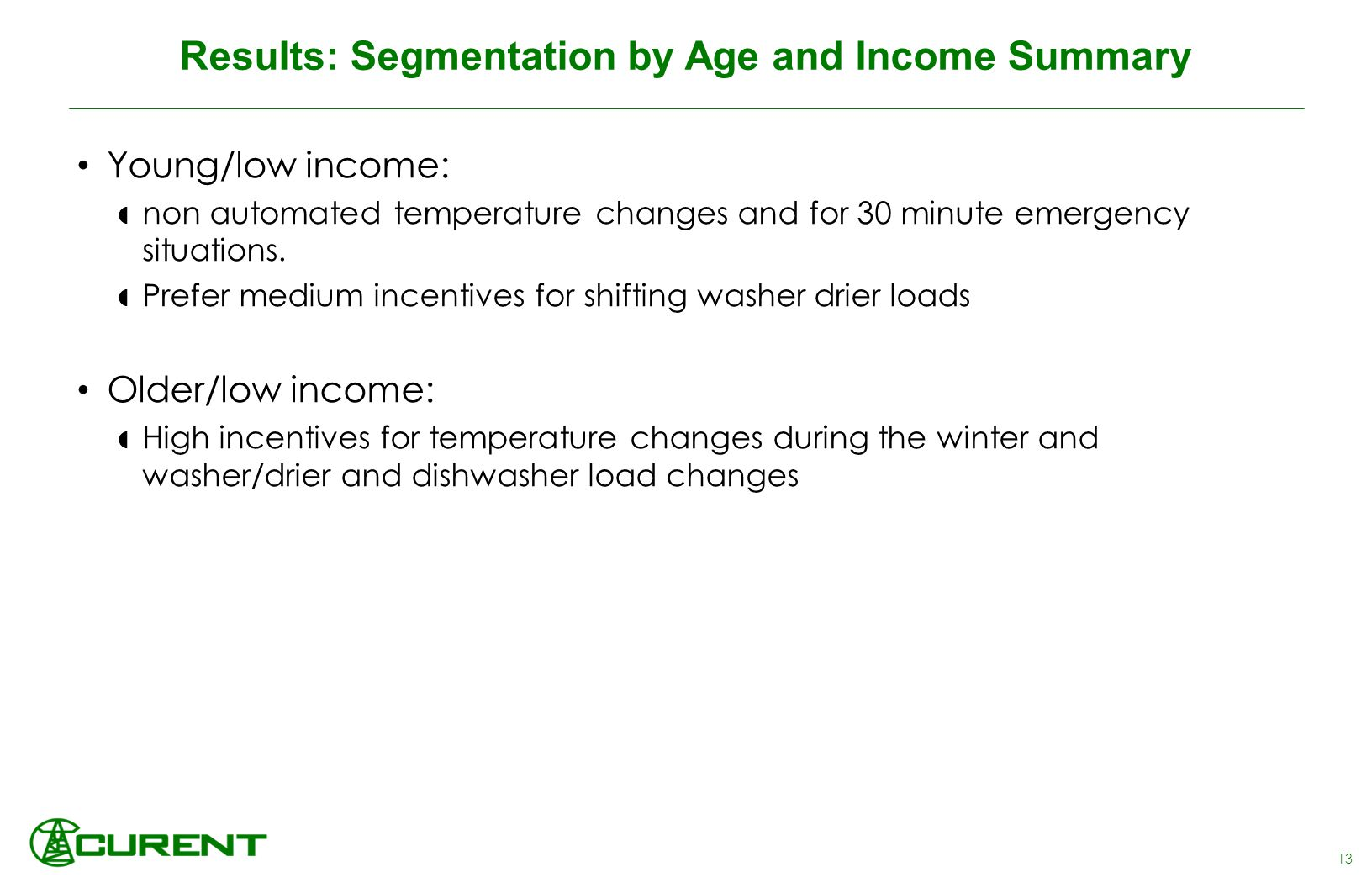 Results: Segmentation by Age and Income Summary 13 Young/low income:  non automated temperature changes and for 30 minute emergency situations.