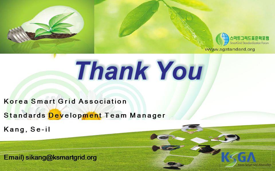 Korea Smart Grid Association Standards Development Team Manager Kang, Se-il Email) sikang@ksmartgrid.org