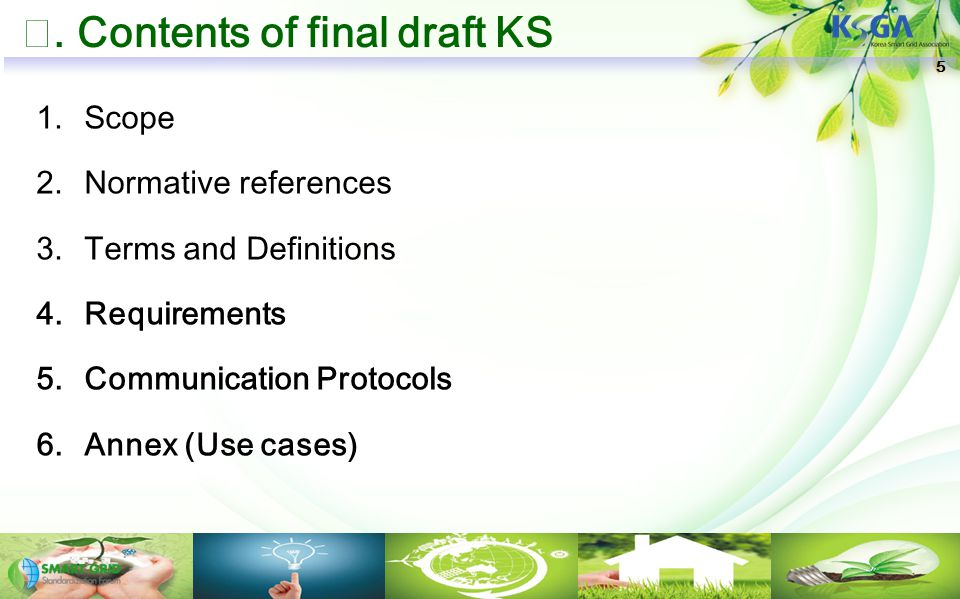 Ⅲ. Contents of final draft KS 1.Scope 2.Normative references 3.Terms and Definitions 4.Requirements 5.Communication Protocols 6.Annex (Use cases) 5