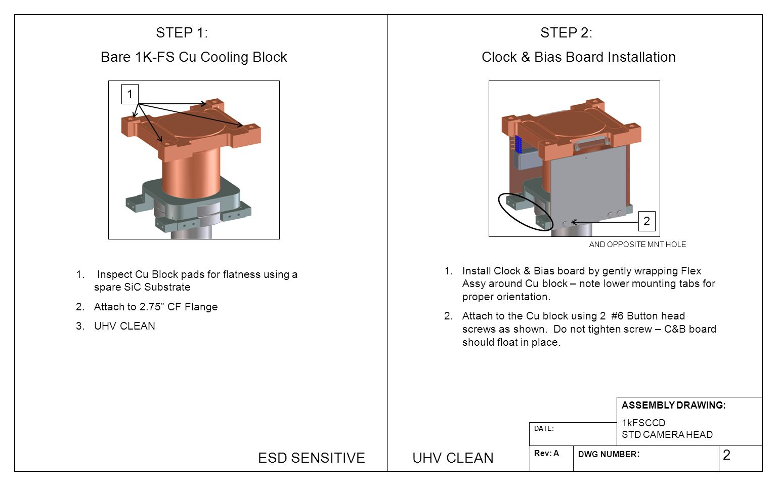 2 ASSEMBLY DRAWING: 1kFSCCD STD CAMERA HEAD DWG NUMBER : Rev: A DATE: 1.