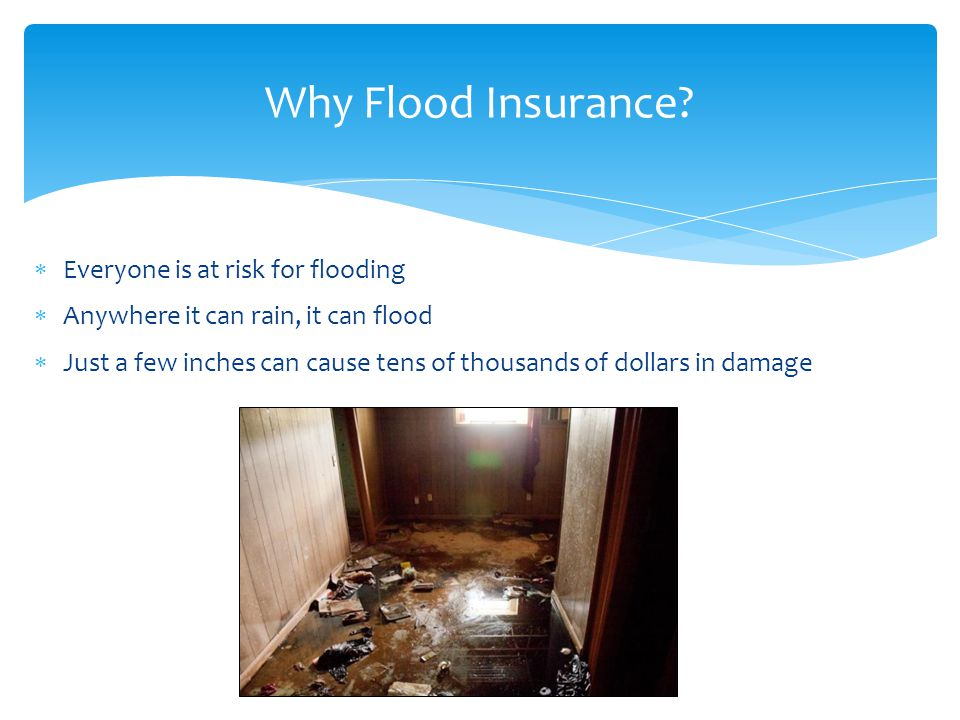  Everyone is at risk for flooding  Anywhere it can rain, it can flood  Just a few inches can cause tens of thousands of dollars in damage Why Flood Insurance