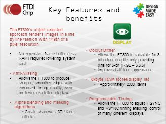 Key Features and benefits The FT800's object oriented approach renders images in a line by line fashion with 1/16th of a pixel resolution No expensive frame buffer (less RAM) required lowering system cost Anti-Aliasing Allows the FT800 to produce sharper, smoother edges with enhanced image quality, even on lower resolution displays.