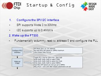 Startup & Config 1.Configure the SPI/I2C interface SPI supports Mode 0 to 30MHz I2C supports up to 3.4Mbit/s 2.