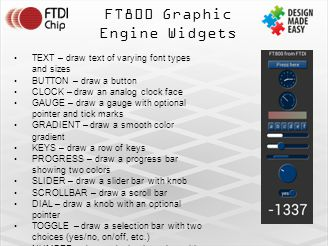 FT800 Graphic Engine Widgets TEXT – draw text of varying font types and sizes BUTTON – draw a button CLOCK – draw an analog clock face GAUGE – draw a gauge with optional pointer and tick marks GRADIENT – draw a smooth color gradient KEYS – draw a row of keys PROGRESS – draw a progress bar showing two colors SLIDER – draw a slider bar with knob SCROLLBAR – draw a scroll bar DIAL – draw a knob with an optional pointer TOGGLE – draw a selection bar with two choices (yes/no, on/off, etc.) NUMBER – draw a decimal number with optional sign