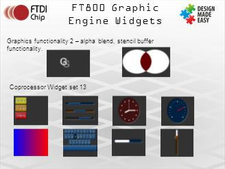 FT800 Graphic Engine Widgets Graphics functionality 2 – alpha blend, stencil buffer functionality.