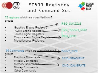 FT800 Registry and Command Set 72 registers which are classified into 5 groups Graphics Engine Registers Audio Engine Registers Touch Engine Registers Co-processor Engine Registers Miscellaneous Registers.