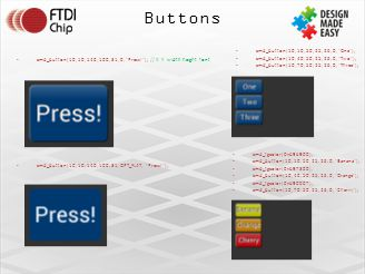Buttons cmd_button(10, 10, 140, 100, 31, 0, Press! ); // X Y width height font cmd_button(10, 10, 140, 100, 31, OPT_FLAT, Press! ); cmd_button(10, 10, 50, 25, 26, 0, One ); cmd_button(10, 40, 50, 25, 26, 0, Two ); cmd_button(10, 70, 50, 25, 26, 0, Three ); cmd_fgcolor(0xb9b900), cmd_button(10, 10, 50, 25, 26, 0, Banana ); cmd_fgcolor(0xb97300), cmd_button(10, 40, 50, 25, 26, 0, Orange ); cmd_fgcolor(0xb90007), cmd_button(10, 70, 50, 25, 26, 0, Cherry );