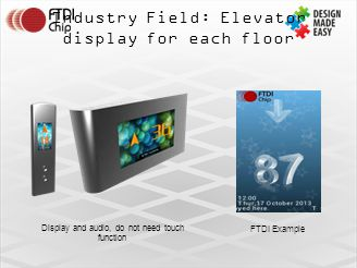 Industry Field: Elevator display for each floor Display and audio, do not need touch function FTDI Example