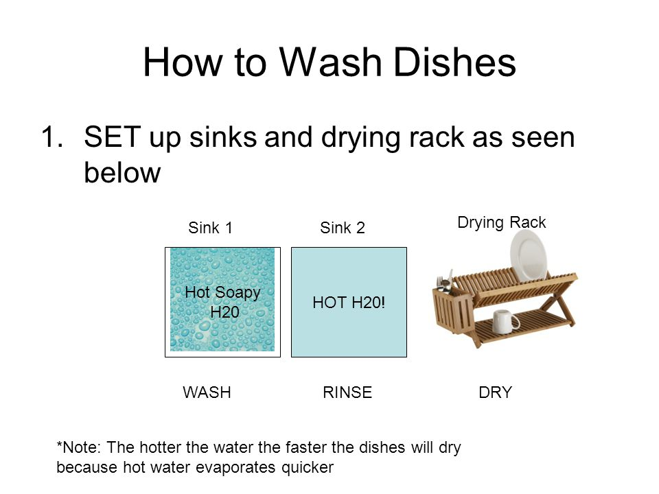 How to Wash Dishes 1.SET up sinks and drying rack as seen below HOT H20.