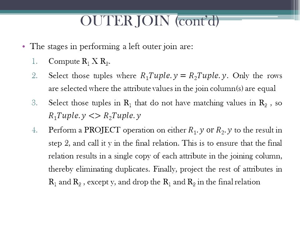 OUTER JOIN (cont'd)