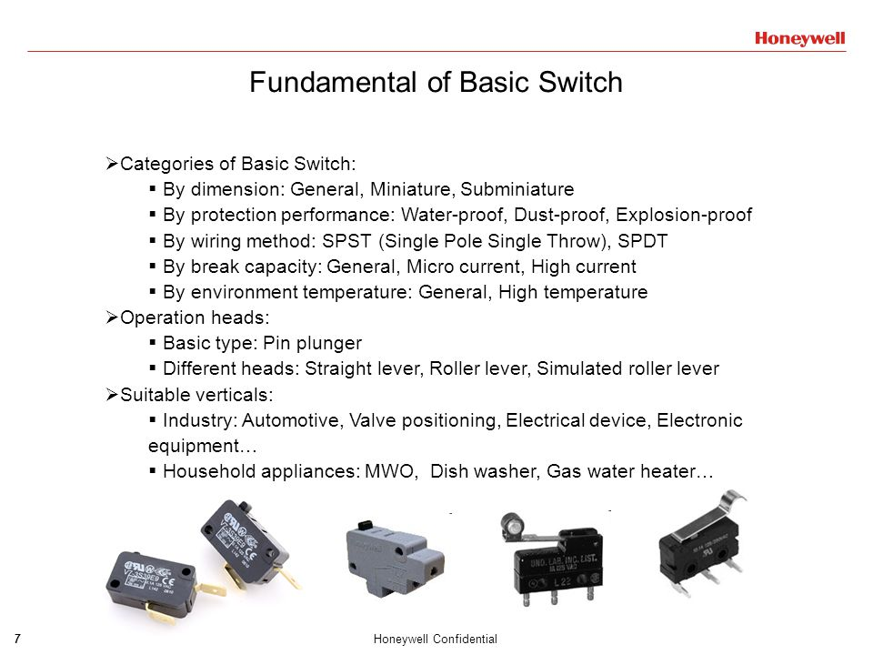 7Honeywell Confidential Fundamental of Basic Switch  Categories of Basic Switch:  By dimension: General, Miniature, Subminiature  By protection per