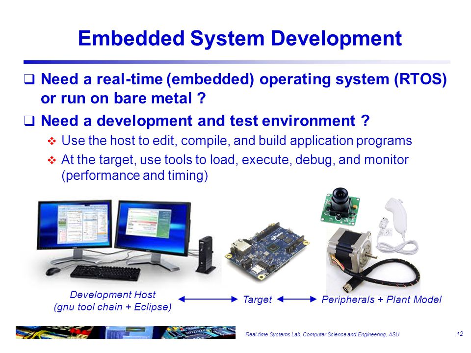 Real-time Systems Lab, Computer Science and Engineering, ASU Embedded System Development  Need a real-time (embedded) operating system (RTOS) or run on bare metal .