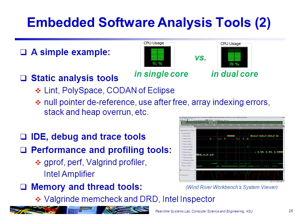 Real-time Systems Lab, Computer Science and Engineering, ASU Embedded Software Analysis Tools (2)  A simple example:  Static analysis tools  Lint, PolySpace, CODAN of Eclipse  null pointer de-reference, use after free, array indexing errors, stack and heap overrun, etc.